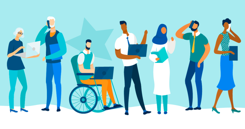 Vector image of various persons with disabilties