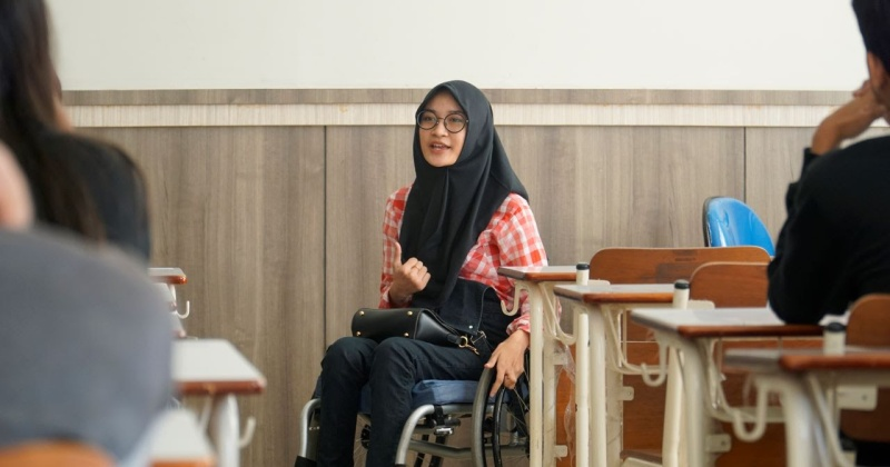 A student on a wheelchair
